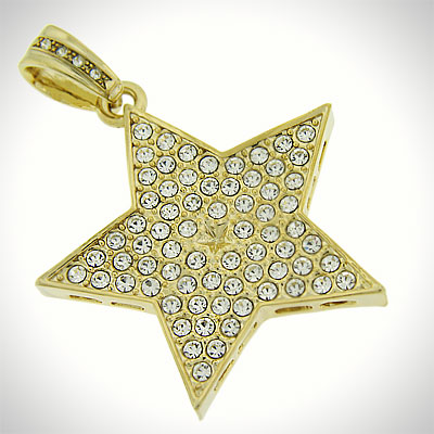 gold star images. Iced Out Gold Star Pendant